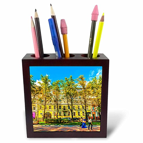 3dRose Alexis Photo-Art - Moscow City - Moscow city art. Trees along Petrovsky boulevard of the city - 5 inch tile pen holder (Boulevard Counter)