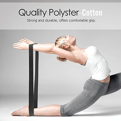 Yoga Strap Belt 6ft [2 Pack], MoKo Stretching Exercise Fitness Bands, Made with Durable Cotton Soft with Metal D Ring Buckle, Best for Holding Poses, Physical Therapy, Pilates, Increase Flexibility