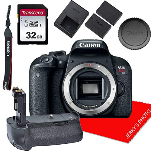 Canon EOS Rebel T7i DSLR Camera DSLR Camera Body + Power Grip + 32GB Memory Bundle (8pcs)