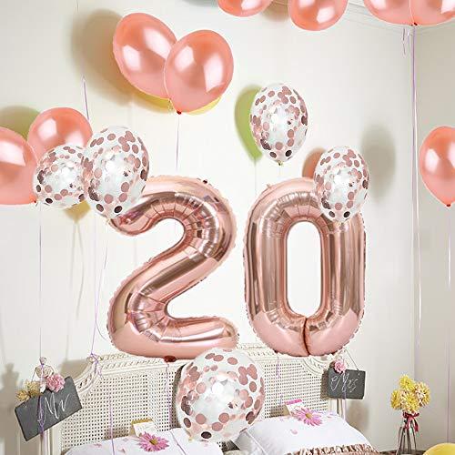 Amazon 20th Birthday Decorations Party Supplies20th Balloons Rose GoldNumber 20 Mylar BalloonLatex Balloon DecorationGreat Sweet