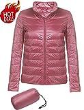 (US) Beyove Womens Winter Packable Lightweight Down Jacket Waterproof Puffer Coat Parka Misty Rose S