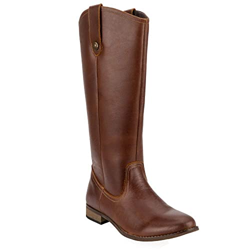 Women's Western Genuine Leather Knee High Riding Boot Wide Calf Cognac US Size 10 best women's knee-high boots