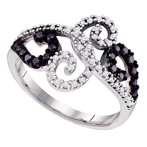 (Sonia Jewels Size 7-14K White Gold White and Black Diamond Cross Over Wedding, Anniversary OR Fashion Right Hand Ring Band - w/Channel Set Round Diamonds - (1/3 cttw))