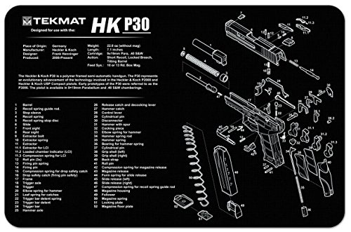 Ultimate Arms Gear Gunsmith & Armorer's Cleaning Work Tool Bench Gun Mat For Heckler & Koch HK P30 P 30 Pistol Handgun - Large Exploded View Schematics Diagram of Revolver and Parts List