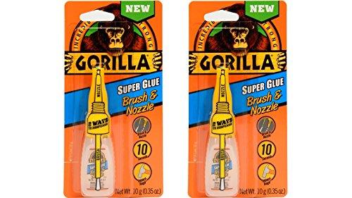 - Gorilla Super Glue with Brush & Nozzle Applicator, 10 Gram, Clear, (2 Pack)