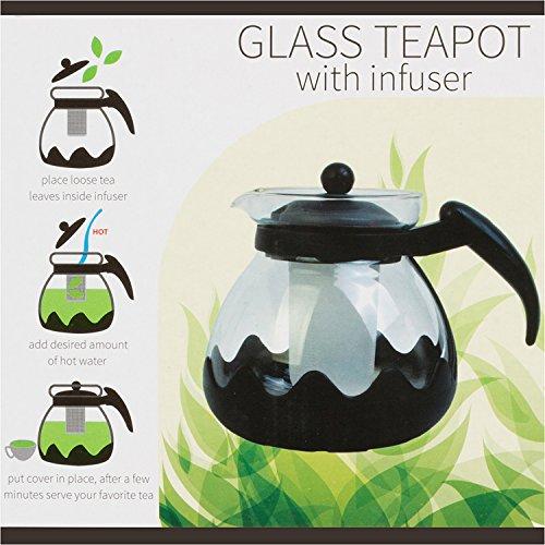 Kole OC840 Glass Teapot with Infuser, 42oz./ 1.25 LT
