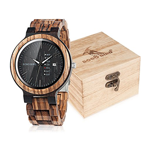 BOBO BIRD Mens Wooden Watch Analog Quartz with Week Display Lightweight Handmade Wood Wrist Watch for Men (Black Dial)