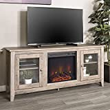 """WE Furniture 58"""" Wood Media TV Stand Console with Fireplace - Grey Wash"""