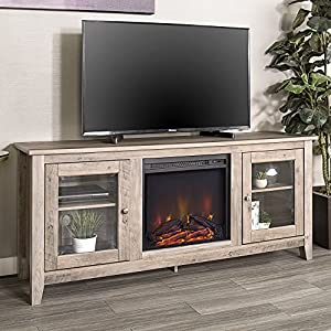 WE Furniture 58″ Wood Fireplace TV Stand Console, Driftwood