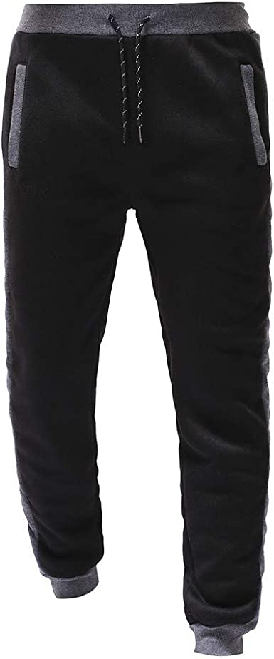 beautyjourney Pantalones de chándal Negros para Hombre Pantalones ...