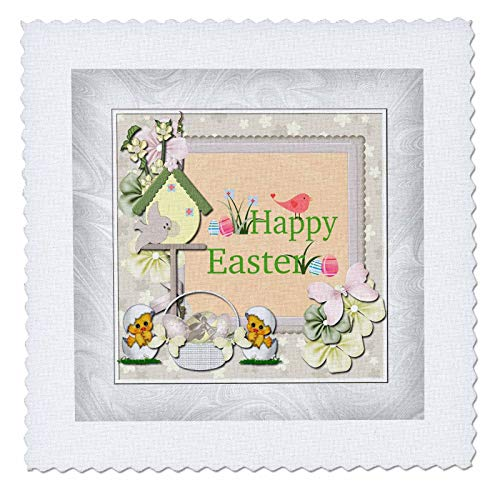 Egg Birdhouse - 3dRose Beverly Turner Easter Design and Photography - Happy Easter, Birds, Birdhouse, Eggs, Basket, Chicks and Flowers - 16x16 inch Quilt Square (qs_302938_6)
