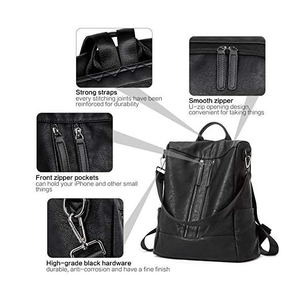BROMEN Women Backpack Purse Leather Anti-theft Travel Backpack Fashion Shoulder Handbag 6