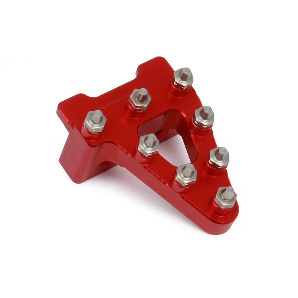 Aluminum Billet Universal Rear Brake Pedal Lever Step Tip Replacement For Dirt Bikes - Red