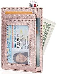 Small RFID Blocking Minimalist Credit Card Holder Pocket Slim Wallets for Men & Women, Rosy Gold