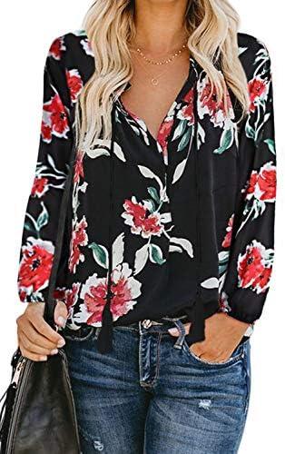 Eternatastic Womens Casual Blouse Long Sleeve V Neck Printed Chiffon Tops Loose Shirts