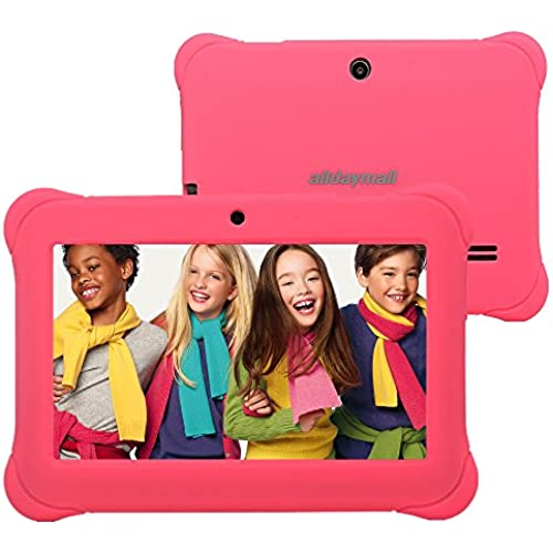 Alldaymall 7 Android Kids Tablet With Wifi and Camera 1GB + 8GB Quad Core, HD Kids Edition w/ iWawa Pre-Installed Bundle, With Pink Silicone Coupons