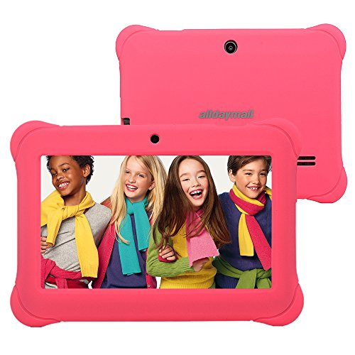 Alldaymall 7' Android Kids Tablet With Wifi and Camera 1GB + 8GB Quad Core, HD Kids Edition w/ iWawa Pre-Installed Bundle, With Pink Silicone Case
