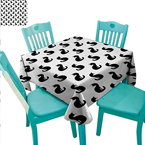 (Cat Square Polyester Tablecloth Silhouette of a Kitten Monochrome Feline Pattern House Pet Illustration Halloween Waterproof/Oil-Proof/Spill-Proof Tabletop Protector 60