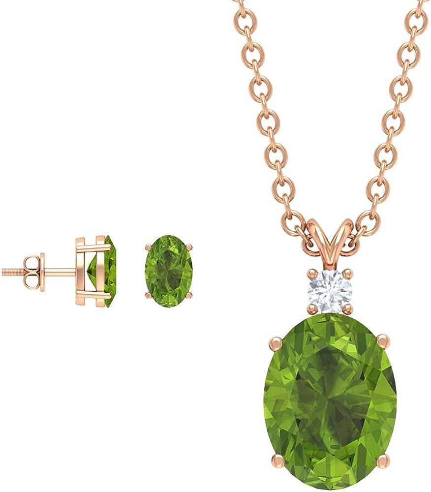 Solitaire - Pendientes y collar de peridoto de 2,38 quilates con corte redondo y piedras preciosas verdes, pendientes de diamante, colgantes de piedra natal de agosto (calidad AAA)