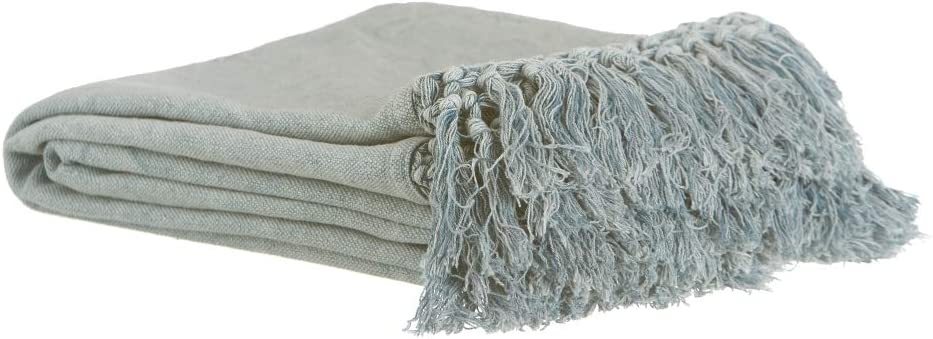 Plaid Azul con Flecos rústico 100% algodón, de 180x140 cm ...