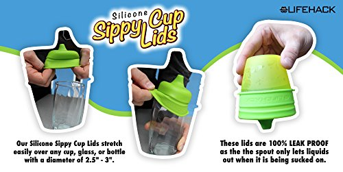 Sippy Cup Lids by MrLifeHack - (4 Pack) - Makes Any Cup Or Bottle Spill Proof - 100% BPA Free Leak Proof Silicone - Perfect for Toddlers & Babies by MrLifeHack (Image #3)