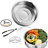 TEMCHY Instant Pot Accessories Set - Steamer Basket, Egg Steamer Rack & Kitchen Tongs - 3PCS- Insert Fits for Instapot 5, 6 qt, 8 Quart Pressure Cooker, Steam Pot, perfect Accessories for steaming