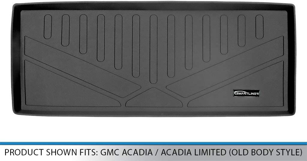 SMARTLINER Cargo Trunk Liner Floor Mat Behind 3rd Row Black for 2007-2016 GMC Acadia Old Body Style 2017 Acadia Limited