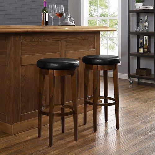 ivel Bar Stool in Mahogany Black Cushion - Set of 2 ()