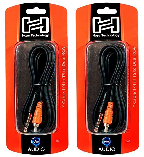 2 Hosa CYR-101 1//4 TS To Dual RCA Y Cables 1 Meter