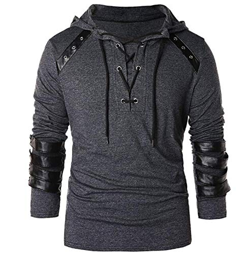 Faux Leather Lace Up Hoodie New Halloween Men