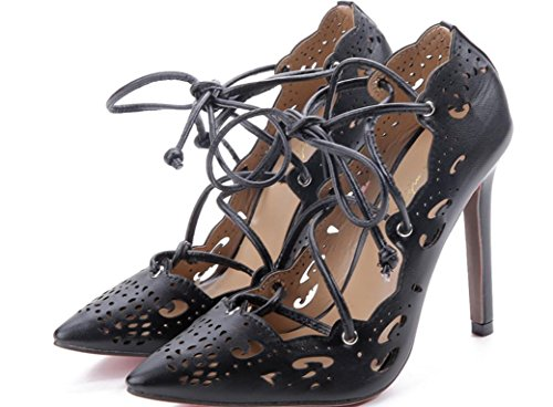 YCMDM donne Grandi sandali Officine scavato Tacchi alti singoli pattini 39 36 35 38 37 40 41 42 43 , black , 35