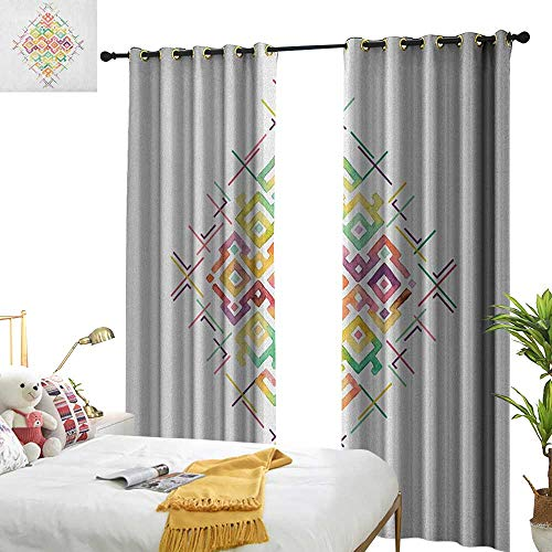 longbuyer Groovy Blackout Draperies for Bedroom Watercolors Ethnic Tribal Pattern Zigzag Asian Roots International Heritage Motif Image W72 x L84,Suitable for Bedroom Living Room Study, etc.
