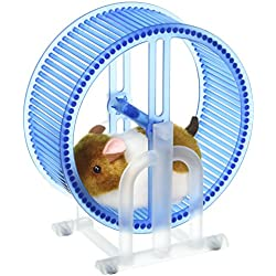Velocity Toys Happy Hamster Spinning Exercise Wheel Children's Kid's Electronic Toy Pet Playset w/ Hamster, Wheel, Stand (Colors May Vary)