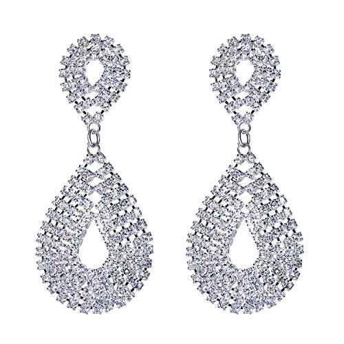FOCALOOK Austrian Crystal Teardrop Long Tassel Waterfall Dangle Earrings Rhinestone Chandelier Bridal - Chandelier Teardrop Plated
