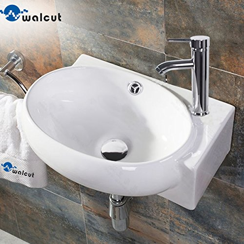 WALCUT USBR1030 Corner Wall Mount Bathroom Porcelain Ceramic Vessel Sink and Chrome Faucet Combo, White by WALCUT