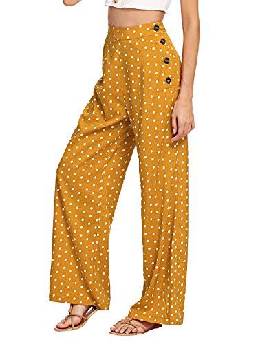 (Verdusa Women's High Waist Button Fly Wide Leg Pants Polka Dot Long Trousers Ginger M)