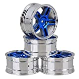 Mxfans 4PCS RC Silver and Blue Star Electroplated Platic Wheel Rim with Holes DIA 52mm for 1/10 On-road Car