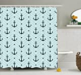 Anchor Shower Curtain Anchor Shower Curtain Set Home Decor by Ambesonne, Anchors Zigzag Chevron Background Abstract Waves Monochromic Artwork, Bathroom Accessories, 69W X 70L Inches, Green