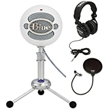 Blue Microphones Snowball Plug-and-Play USB Microphone in White with Studio Headphones and Microphone Pop Filter