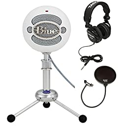 Blue Microphones Snowball USB Microphone (Textured White) with Full Size Studio Headphones and Pop Filter