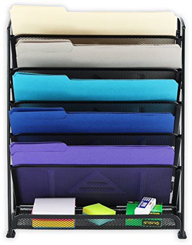 SimpleHouseware 6 Tier Wall Mount Document Letter Tray Organizer, Black by Simple Houseware (Image #1)