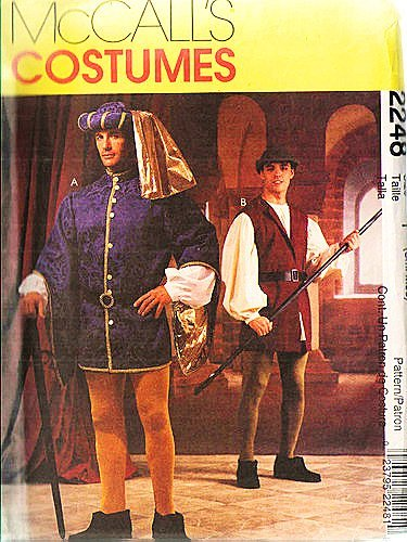 McCalls 2248 Mens Renaissance Tudor Robin Hood Theater Costume Pattern Size Small & Medium