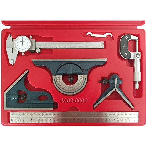 HHIP 4902-0009 6 Piece Tool Kit with Caliper, Micrometer and Combination Square