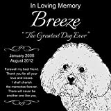Personalized Bichon Frise Pet Memorial 12''x12'' Engraved Black Granite Grave Marker Head Stone Plaque BRE1