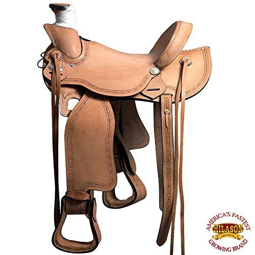16' Roping Saddle (HILASON BH71F WESTERN LEATHER RANCH ROPING COWBOY LADIES LIGHT WEIGHT SADDLE 16')