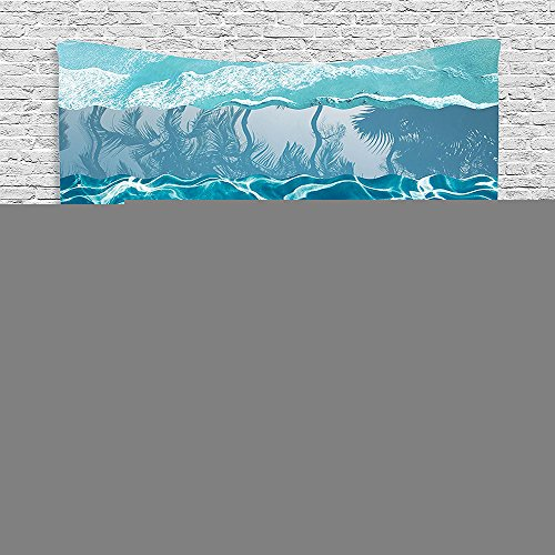 Bedroom Living Room Dorm Elastic fabric Wall Hanging Tapestry Nautical Decor Abstract Major Gradient Flowing Waves Motif Liquid Shallows Pure Freshness Motion Image Blue (Major Egyptian Gods)