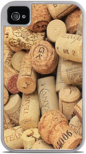 Wine and Champagne Corks Pattern Background White 2-in-1 Protective Case with Silicone Insert for Apple iPhone 4 / 4S by Moonlight Printing
