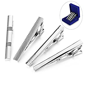 LOYALLOOK 4pcs Tie Clips for Man Pinch Clip Set for Regular Ties with Gift Box Business Wedding 2.35 Inches