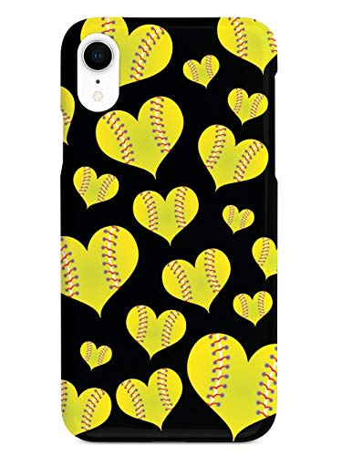 Inspired Cases - 3D Textured iPhone XR Case - Rubber Bumper Cover - Protective Phone Case for Apple iPhone XR - Softball Heart Pattern