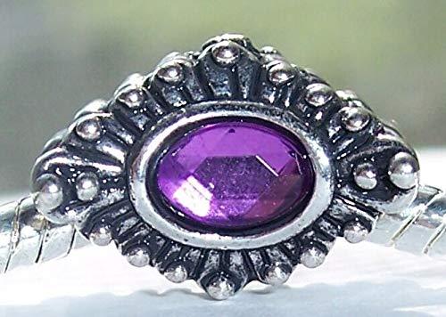 Sunburst Spacers - Purple Sunburst February Birthstone Flower Spacer Charm for European Bracelets id-2292